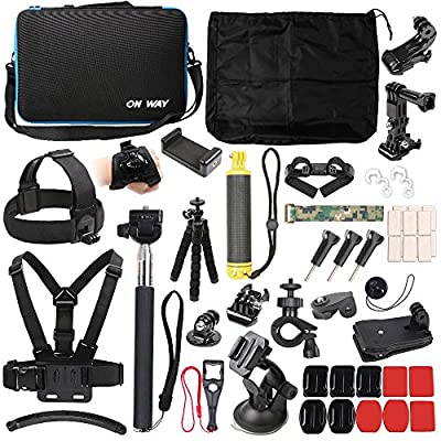 50 in 1 Basic Common Action Camera Outdoor Sports Accessories Kit for Gopro Hero 9/8/7/6/fusion/5/Session/4/3/2/HD/HERO+ SJ4000/5000/6000/Xiaomi Yi/AKASO/APEMAN/DBPOWER/Sony Sports DV and More by Huina photographic equipment
