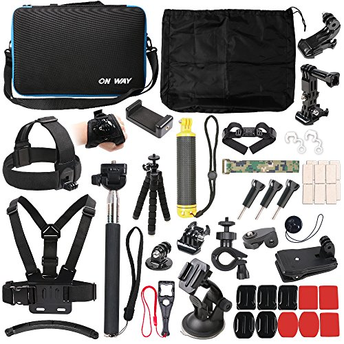 50 in 1 Basic Common Action Camera Outdoor Sports Accessories Kit for Gopro Hero 9/8/7/6/fusion/5/Session/4/3/2/HD/HERO+ SJ4000/5000/6000/Xiaomi Yi/AKASO/APEMAN/DBPOWER/Sony Sports DV and More