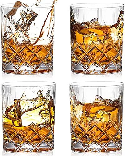 GLURIZ Juego de 4 vasos de Whisky doble 300ml, diseño elegante, ideal tambien para whisky escocés, bourbon, vodka de malta (clásico)