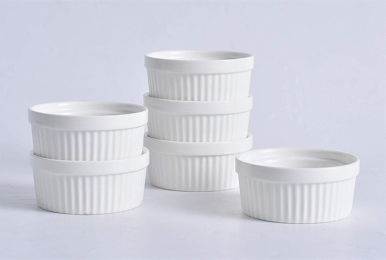 Set of 6. Dishwasher Dessert Souffle Great for Dipping Microwave Safe Creme Brulee Baking Bowl Pudding Oven Kota Japan 4 Oz Porcelain China Ceramic Classic Ramekin Ice Cream