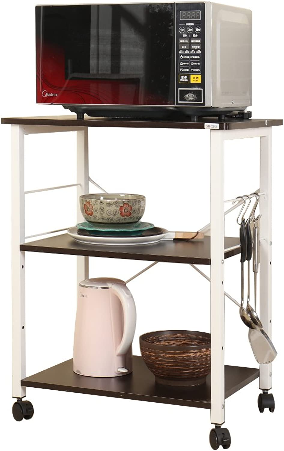 Soges 2-Tier Microwave Cart Utility Cart with Wheel Microwave Stand Kitchen Baker's Rack Utility, W4-H