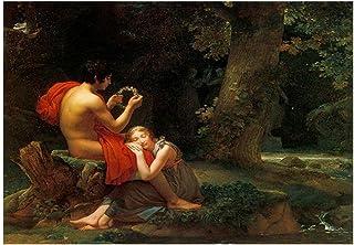 VCFHU Pierre Auguste Cot Famosa Pintura Al óLeo Daphnis Y Chloe Lienzo PóSter ImpresióN Figura Arte De Pared para Salon De...