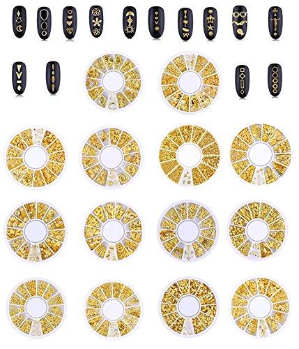 Lot de 14 boîtes de décorations pour ongles en métal 3D Punk Étoile Lune Triangle Carré Rivet Gemmes creuses Ocean Cœur Patch Nail Diamant Rond