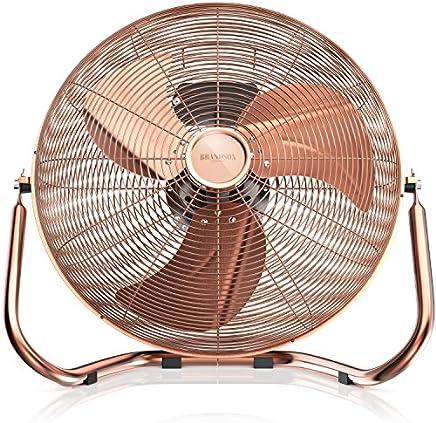 Brandson - Macchina del Vento | Ventilatore da Tavolo | Ventilatore da 50 cm | 3-Livelli di Potenza | 120W di Potenza Max assorbita | Design Retro | Rame