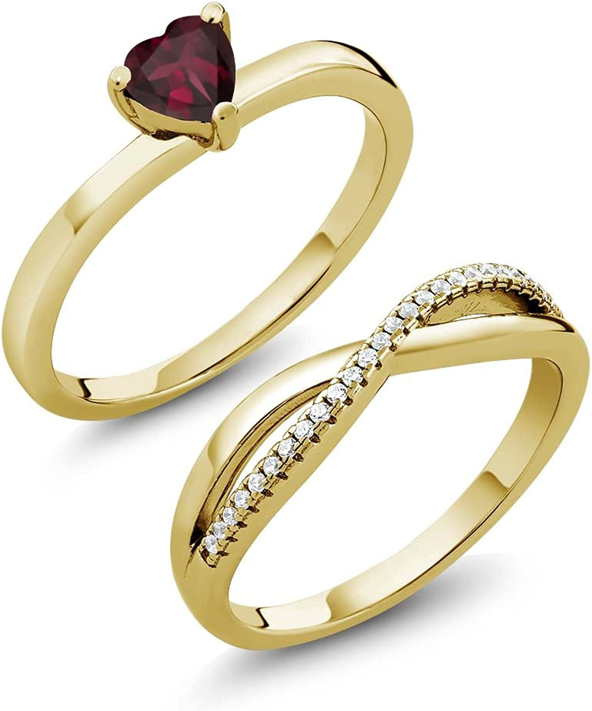 0.85 Ct Rhodolite Garnet 18K Yellow gold Plated Silver Engagement Wedding Ring Set