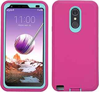 LG Stylo 4 Case, Hybrid High Impact Resistant Rugged Full-Body Shockproof Tri-Layer Heavy Duty Case, with Kickstand & Built-in Screen Protector for LG Stylo 4/ LG Stylo 4 Plus (Rose)