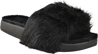 Fashion Thirsty Womens Flat Platform Faux Fur Slider Flip Flop Sandals