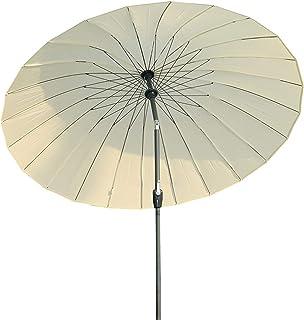 Angel Living Parasol de jardin rond en aluminium avec mécanisme d'inclinaison et manivelle 250 cm - Ecru -