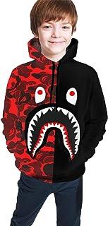Youth Bape A Bathing Camo Shark Pullover Hooded Sport Big Pocket Hoodies Swatshirt