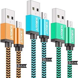 Micro USBケーブル【3本セット 0.5M】SUNGUY マイクロusbケーブル 2.4A急速充電 高速データ転送 高耐久 ナイロン編み アンドロイド 充電ケーブル HUAWEI、Galaxy、ASUS、AQUOS、Xperia、Nexus、Moto、PS4、Xbox、Echo Dot