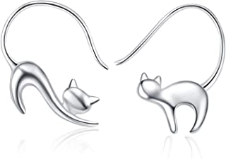 LUHE Cat Dangle Earrings 925 Sterling Silver Pull Through Animal Cat Hoop Earrings for Women.Girls