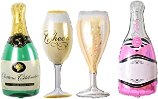 FUNPRT Mylar Champagne Bottle and Goblet Helium Balloons,4 Count