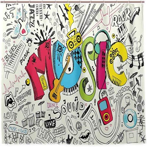 N/X Duschvorhang Pop Art Gekennzeichneter Doodle Style Musikalischer Hintergr& mit Instrumenten So& Illustration Badezimmer Duschvorhang