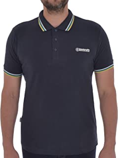 Lambretta Hommes/'s bleu marine cachemire à rayures 100/% Coton Polos
