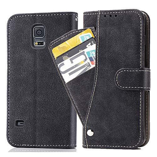 Asuwish Galaxy S5/S5 Neo Wallet Case,Leather Phone Cases with Credit Card Holder Rugged Kickstand Stand Flip Folio Magnetic Protective Cover for Samsung Galaxy S5 S 5 Women Girls Men Black