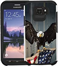 Galaxy S6 Active G890 Case, [for Active Style Only! Not Fit Galaxy S6/S6 Edge], Dual Layer Shock Proof Bumper Protective Phone Cover - American Bald Eagle Flying with Flag