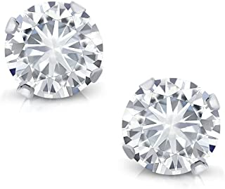 14K White Gold Stud Earrings Set Round Forever Classic Faint Color (IJK) 0.66 ct (DEW) Created Moissanite from Charles & Colvard