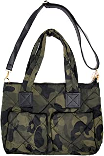 Me Plus Women Fashion Green Camouflage Quilted Puffer Shoulder Bag Crossbody Tote Bag