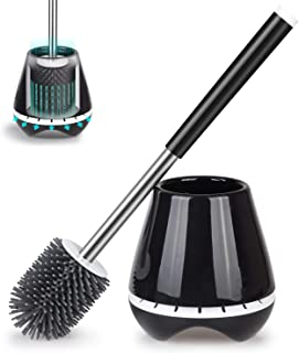Silicone Toilet Bowl Cleaner Brush and Holder Bathroom Cleaning Brush- MEXERRIS Rubber Toilet Brush with Holder Toilet Scrubber Brush With Tweezers for Bathroom Storage and Organization Black