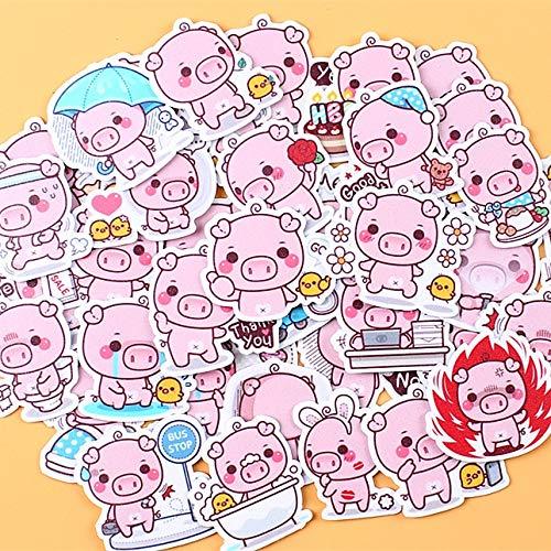WYDML Creativo Kawaii Self-Made Pink Toot Pig Hermosas Pegatinas Etiqueta Decorativa DIY Craft Photo Albums 40 Uds