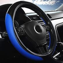 Labbyway Car Universal 15-inch Microfiber Steering Wheel Cover,Anti-Slip,Odorless,Four Seasons Universal (Blue)