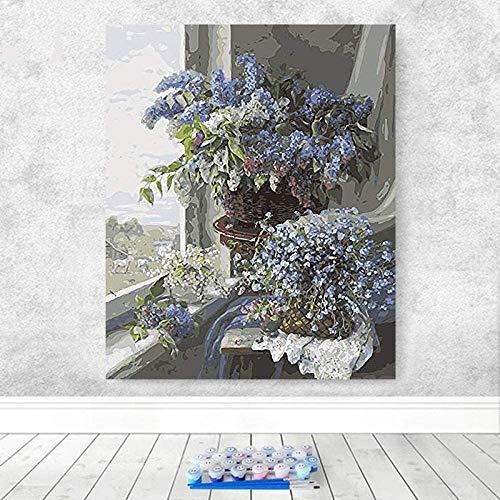 WCIAW Nature Morte Fleur Peinture Fenêtre Huile Famille Hôtel Décoratif Européen Comptoir Peinture À l'huile Fleur Vasepaint par Numéro Art-40X50 Cm (avec Cadre)