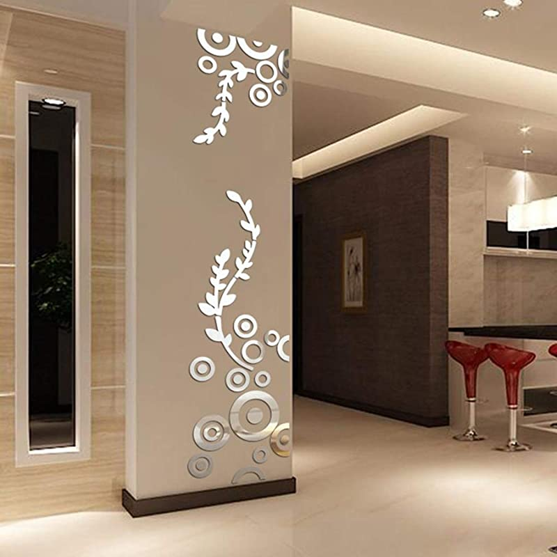 YINASI Creative Circle Ring Acrylic Mirror Wall Stickers 3D Home Room Decor Decals For Bedroom Bathroom Living Room Nursery Room Silver
