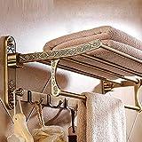 Toallero de aluminio de latón antiguo toalla de baño de toalla de baño activo titular de toalla doble estante con ganchos accesorios de baño titular de la toalla
