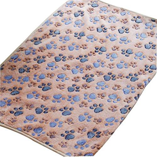 Angelof Couverture Chien/chat Plaid Chat Chien Mat Chiot Lit Chaud ModèLe Patte Couverture Hiver Chaude Polaire Animal Couverture (L, Brown)