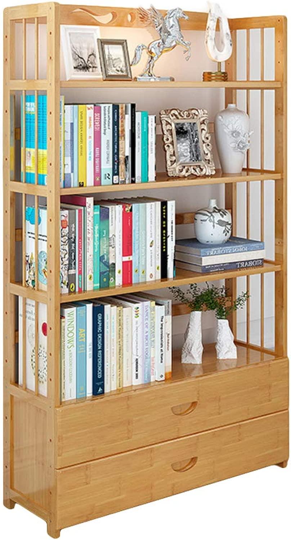 DULPLAY bambù Naturale 2-4-tier Libreria scaffale,Libreria scaffale con cassetto Assemblaggio Facile Scaffale cubo Pavimento Multidivertimentozionale Arrossoo casa Ufficio-I 80x26x151cm(31x10x59inch)