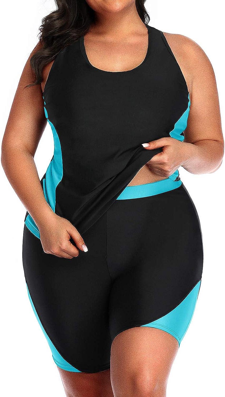 Daci Women Plus Size Tankini High Waisted Racerback Two Piece Boyshort Swimsuit