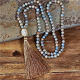 esclusiva 8mm pietra naturale 108 mala long tassel perline collana handmade boemia donne collana yoga belle gioielli