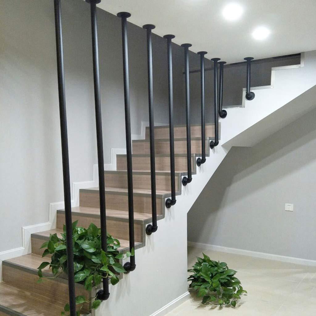 Escaleras Barandilla montadas en la Pared Pasamanos Soporte de Barandas para niños y Ancianos Baranda Interior y Exterior para Escalera - Rústico Negro: Amazon.es: Hogar