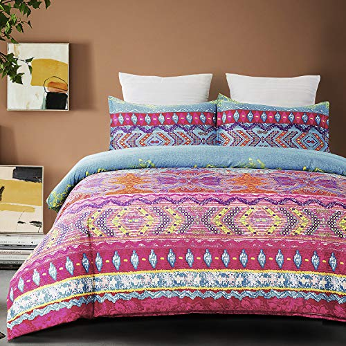 Vaulia Soft Microfiber Duvet Cover Set, Boho-Chic Print Pattern, Pink Color - King Size (3-Piece Set)