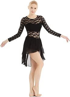 Women's Lyrical Long Sleeve Floral Lace Ballet Dance Ice Skating Asymmetric High- Low Skirt