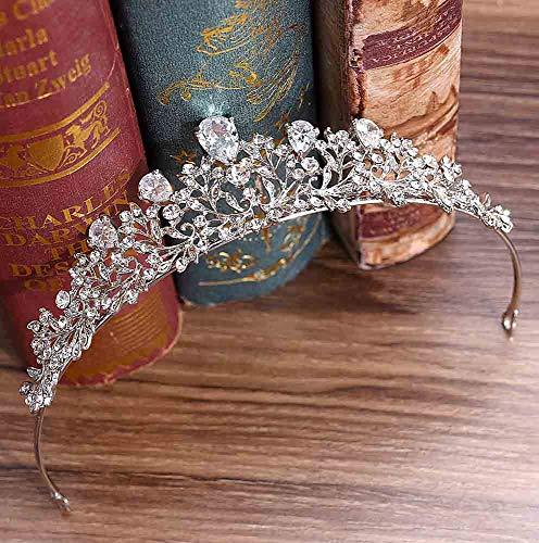 Jovono Hochzeitsdiadem für Erwachsene, Brautschmuck in Silber mit Strass, Diadem für Damen