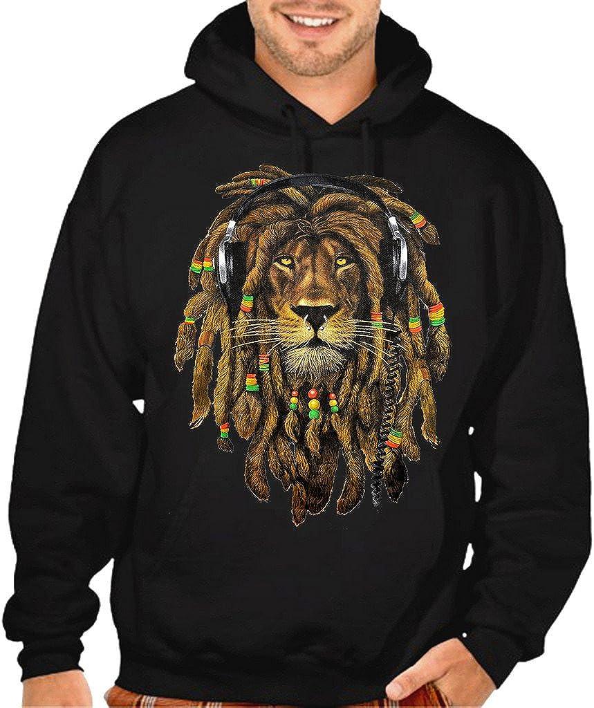 Men's Dreadlock Rasta Lion Headphones Black Pullover Hoodie Swea