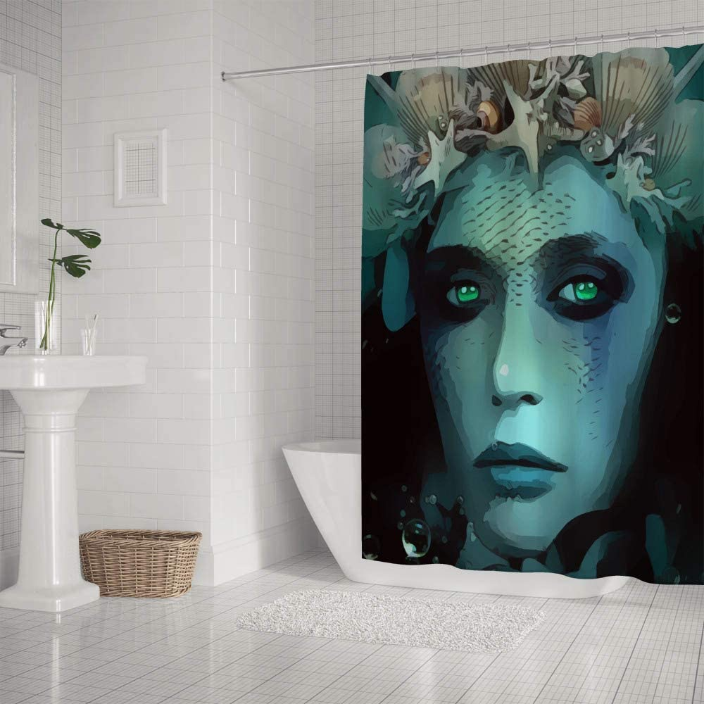 Amazon Com Kuizee Shower Curtain Waterproof Deep Sea Aqua Mermaid Bath Curtains Polyester Decor Bathroom 60 72inch Water Repellent Bath Curtain Easy Install Home Kitchen