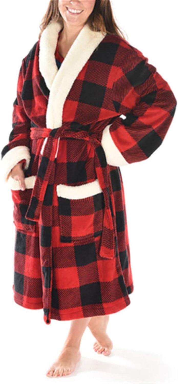 FUNEY Christmas Plaid Print Warm Pocket Belt Cotton Long Robe Bathrobe Sleepwear V-Neck Pajamas Loungewear for Women