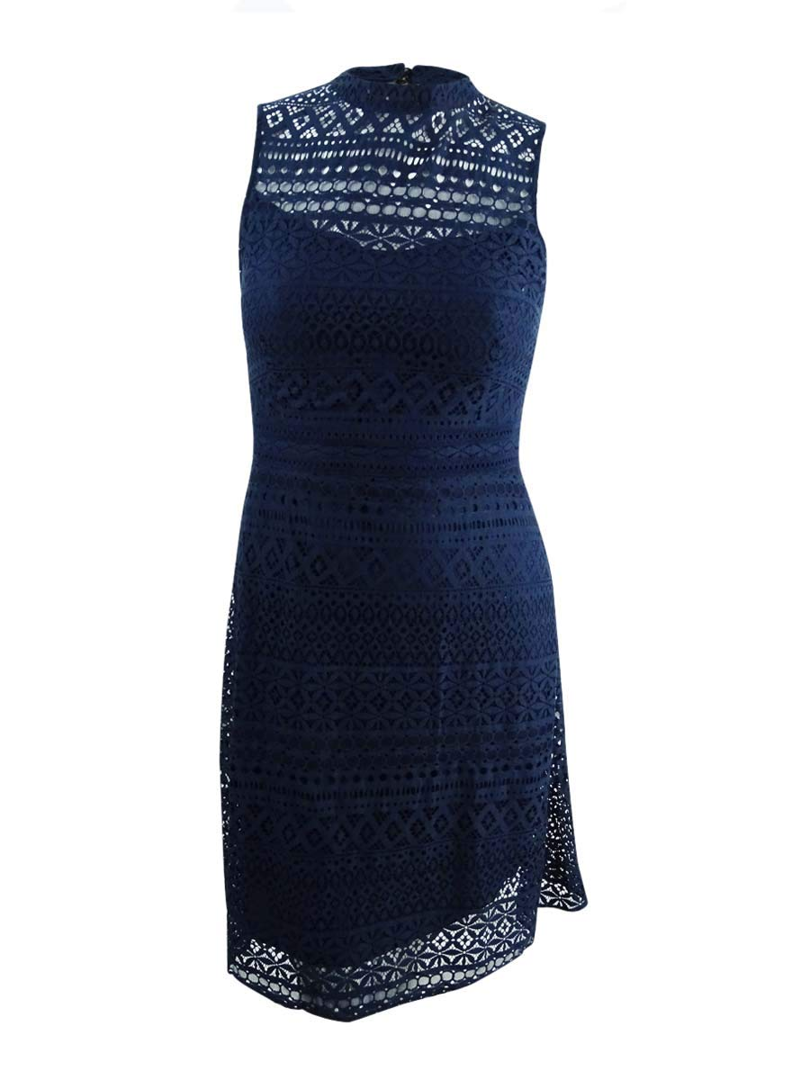 Available at Amazon: Jessica Simpson Women's Geo Lace Mock Neck Dress
