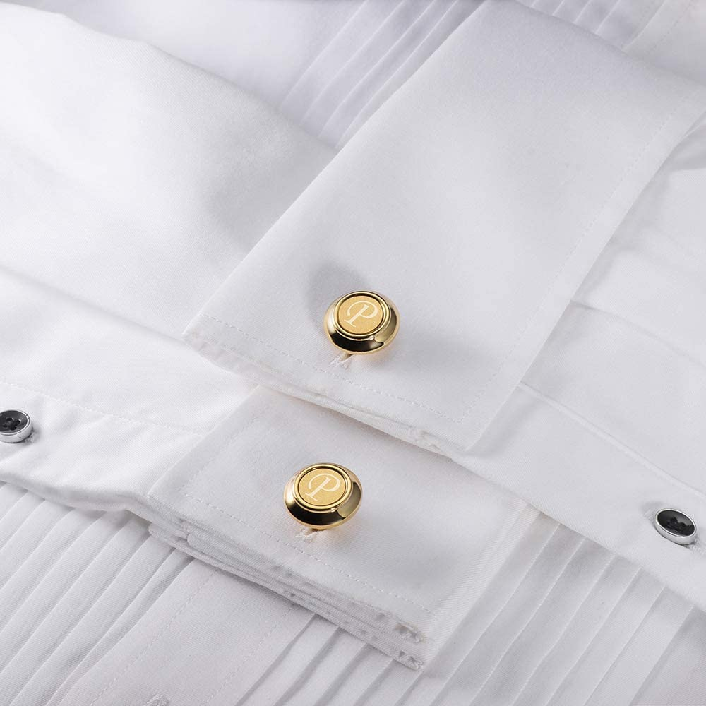 Gift for Normal and Business Wearing HAWSON A-Z Cufflinks for Men and Women Gold Color Engraved Initial Letter Cuff Links for French Shirt