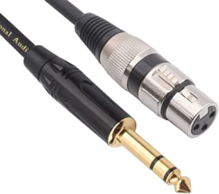 TISINO XLR Female to 1/4 Inch (6.35mm) TRS Jack Lead Balanced Signal Interconnect Cable XLR to Quarter inch Patch Cable - 10 Feet