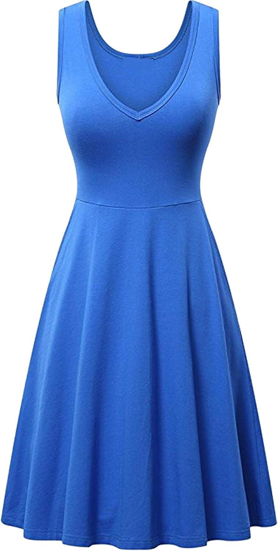 GRASWE Women's Sleeveless Midi Dresses Summer Casual V Neck Tank A Line Swing Dresses