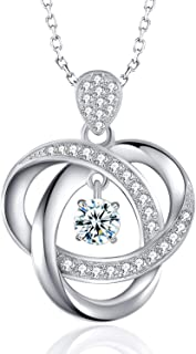 Two-Tone Sterling Silver Cubic Zirconia Flame Created Gemstone Pendant Necklace, 18''
