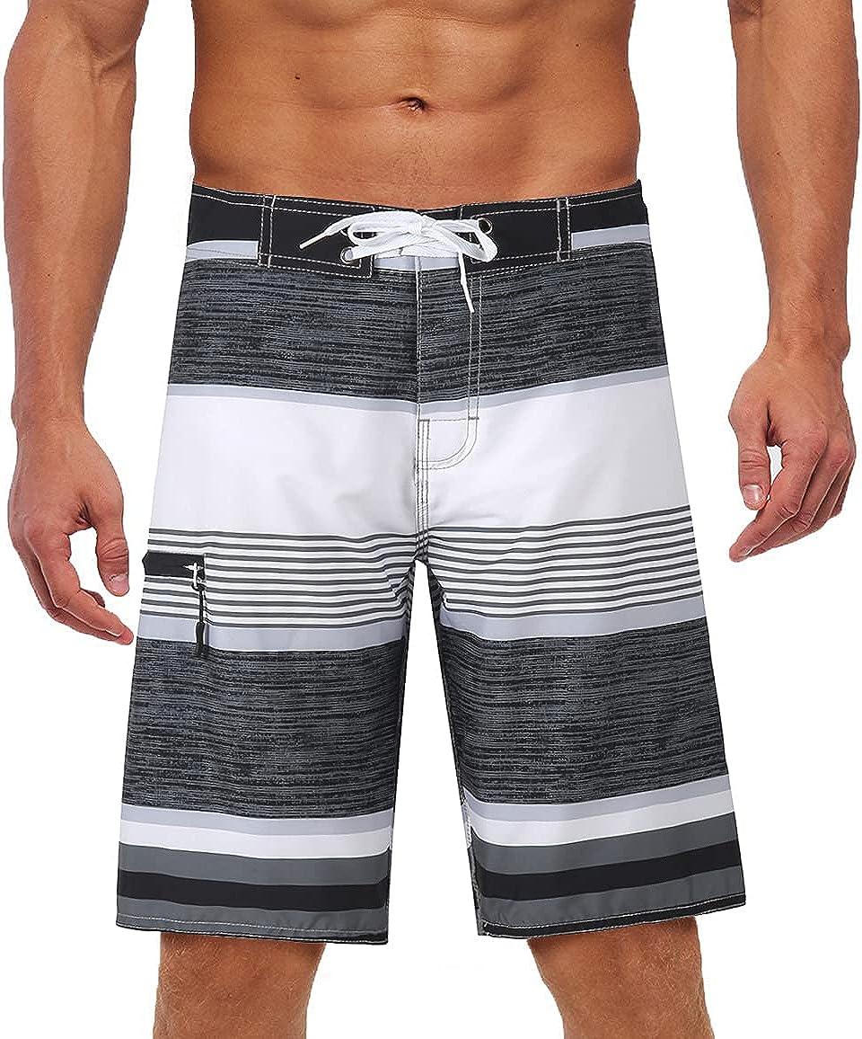 Yaluntalun Men's Swim Trunks Long Quick Dry Beach Board Shorts with Mesh Lining Beachwear