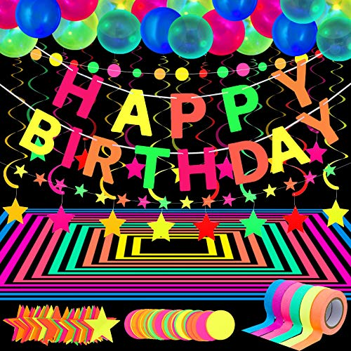Glow Party Neon Party Supplies Includes 6 UV Blacklight Reactive Tape Luminous Tapes Neon Paper Garland Happy Birthday Banner 10 Hanging Swirls, 25 Fluorescent Balloons for Birthday Glow Neon Party
