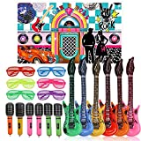 25pcs 50s Rock Party Decorations Supplies Rock and Roll Party Backdrop Star Toy Set,Inflatable Guitars Microphones Shutter Shading Glasses Music Party Props for 1950s Party Birthday Decor