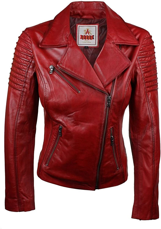 Aviatrix Ladies Women Genuine Real Leather Slim Fit Red Biker Jacket