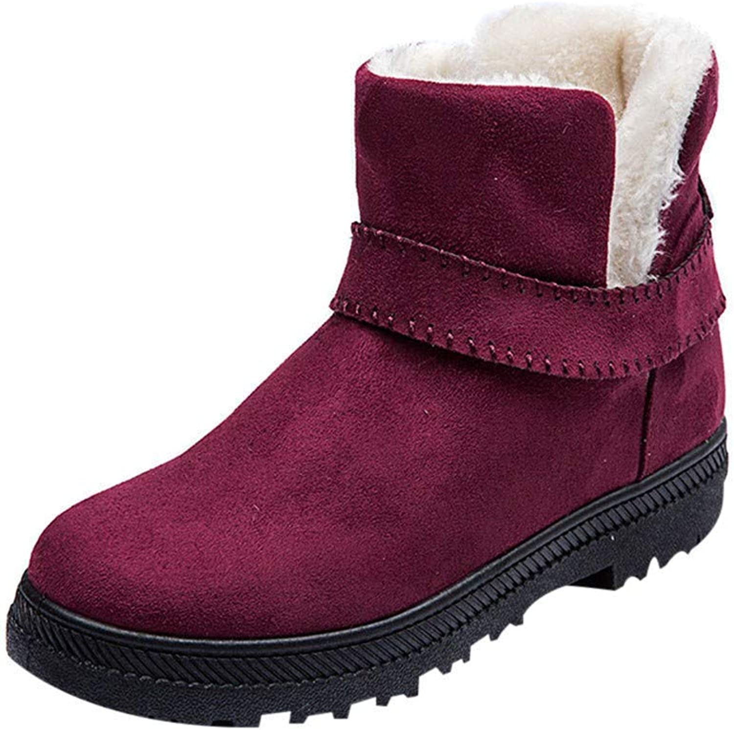 JaHGDU Women Fashion Solid Warm Winter Flat Snow Short Boots Leisure Elegant Cosy Wild Tight Super Casual Round Toe shoes Quality for Womens