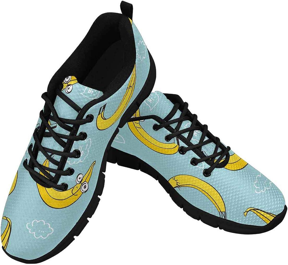 INTERESTPRINT Hand Drawn Cute Bananas Women's Athletic Walking Shoes Breathe Comfort Mesh